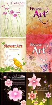 PSD for Photoshop - Flower backgrounds pack 17