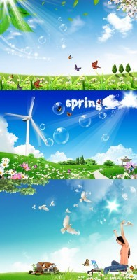 PSD for Photoshop - Spring bright warm day
