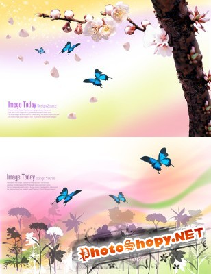 PSD for Photoshop - Butterfly flying over flowers