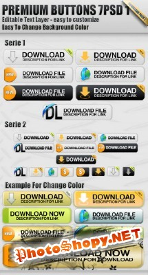 Buttons Download Pack 7 PSD in 1