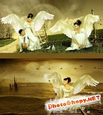PSD for Photoshop - Beautiful Angels on Earth