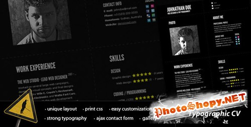 ThemeForest - Typographic CV -  Impressive Resume Template
