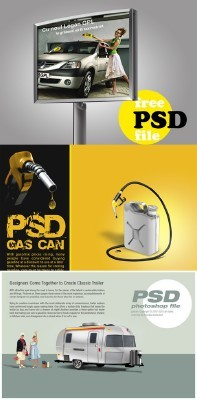 PSD for Photoshop - Billboard, Gas and classic trailer