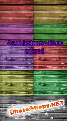 WOOD TEXTURE WITH 10 COLORS FOR PHOTOSHOP