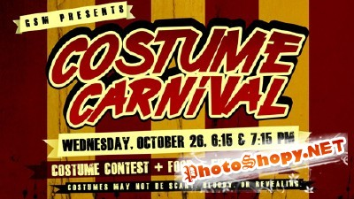 Invitation Flyer For Costume Carnival PSD