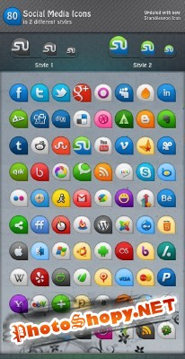 80 Icons in 2 Different Styles