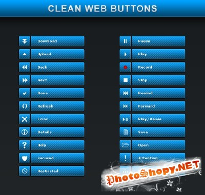 New Clean Web Buttons Psd
