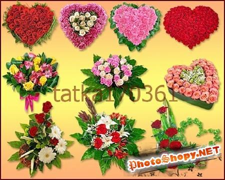 Клипарт - Цветочные сердечки для рамочек