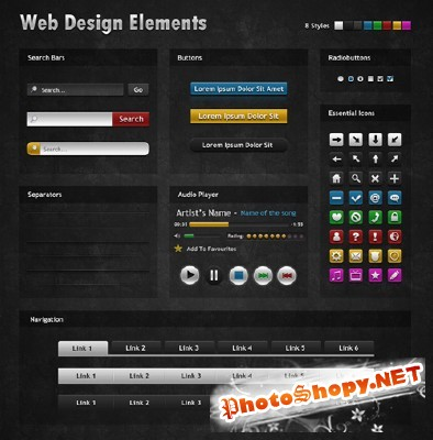 Dark Web Design Elements for Photoshop