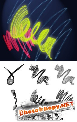 Dotted Neon Lines Brushes for Photoshop
