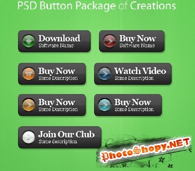 Psd Buttons Package creations for Photoshop