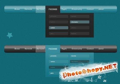 Blue and Black Navigation Psd for Photoshop