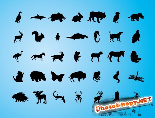 ������� ������ � ������� (Animals Vector silhouettes)