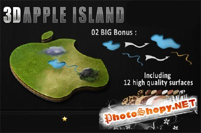 3D Apple Island psd for Photoshop