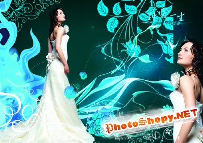 Sources - A beautiful girl in a wedding dress for Photoshop