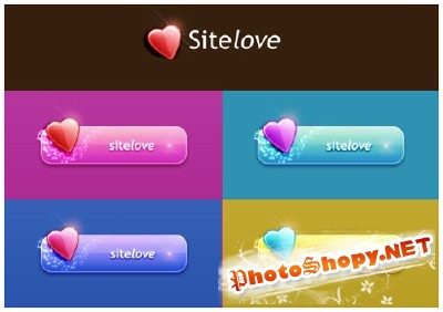 Sitelove Buttons psd for Photoshop