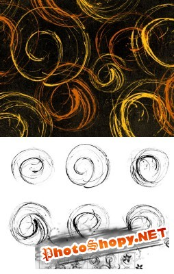 Dry Ink Spirals Brushes Set for Photoshop