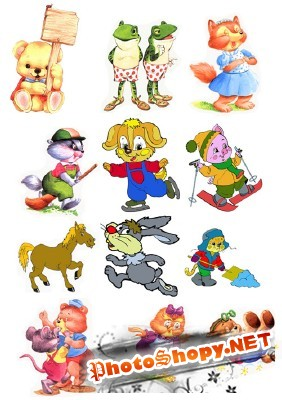 Children's cartoon characters pack 2 for Photoshop
