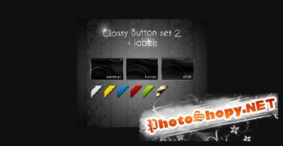 Glossy 3 State Button plus Corner Labels PSD for Photoshop