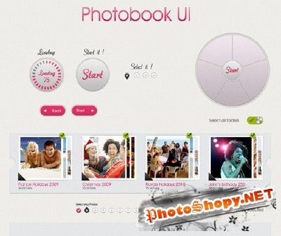 Snazzy Web UI Photobook Design PSD for Photoshop
