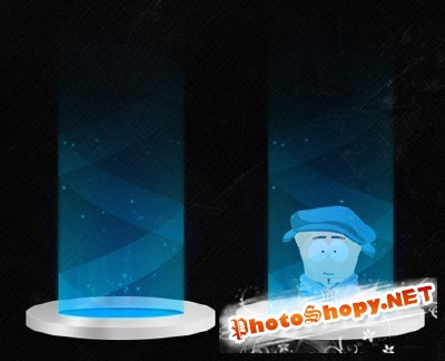 Starship Teleporter Beam with Character PSD
