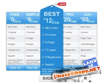 Pricing Table PSD Template for Photoshop