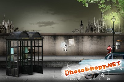 The dark London street for Photoshop