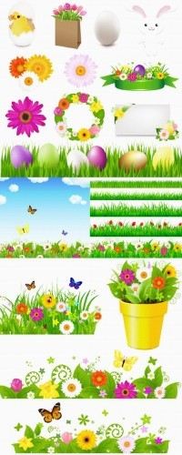 Easter grass vector topic