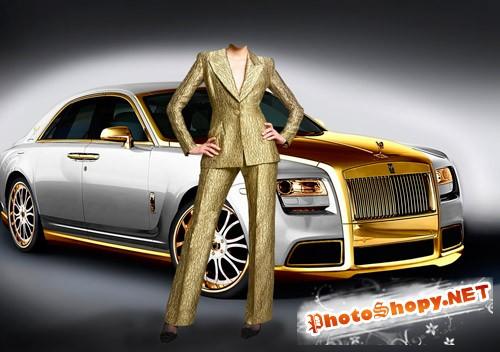 """Шаблон для фотошопа """"Деловая женщина возле автомобиля"""""""