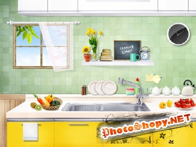 A beautiful colored kitchen for Photoshop