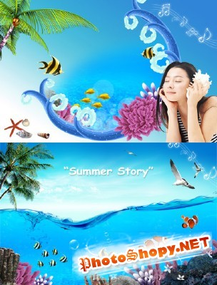 The bright summer love story psd for Photoshop