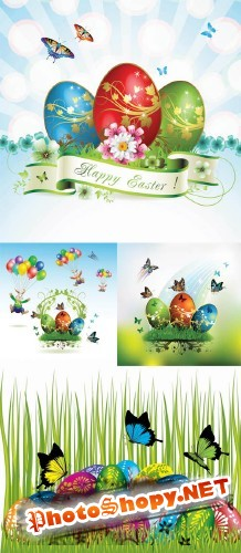 Easter cards and decorations butterfly eggs