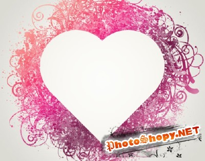 Spatter Heart Frame Brushes Set for Photoshop