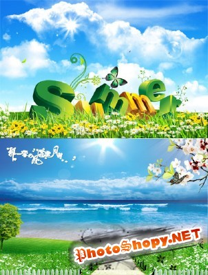 The spring weather, summer mood psd for Photoshop