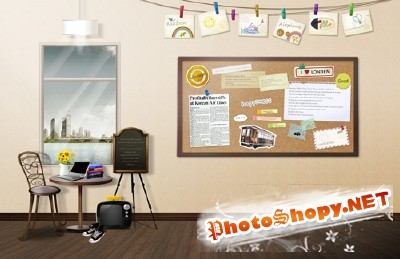 A room for training psd for Photoshop