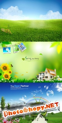 A new life of spring psd for Photoshop