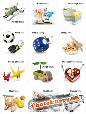 Sources Psd Children Toys pack 2 for Photoshop