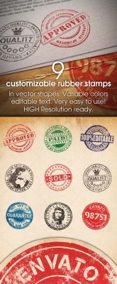 9 Customizable Rubber Stamps - GraphicRiver