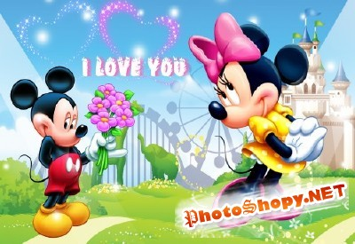 Mickey Mouse in Love psd for Photoshop