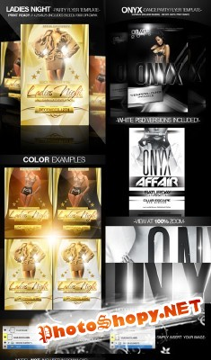 Onyx Flyer and Ladies Night Gold Party Flyer Templates for Photoshop