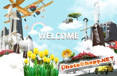 Welcome to the wonderful world psd for Photoshop
