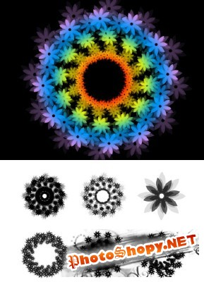 Kaleidoscope Flowers Brushes Set for Photoshop
