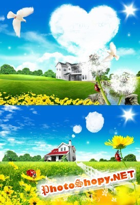 A beautiful sunny spring day psd for Photoshop