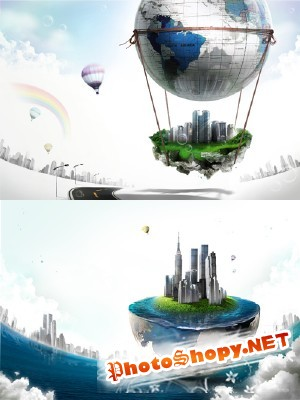 On the big air balloon Psd for Photoshop