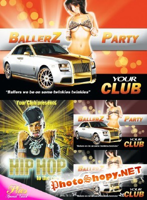 Hip Hop and Ballerz Party Flyers for Photoshop