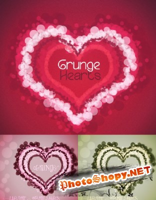 Grunge Hearts II Brushes Set for Photoshop