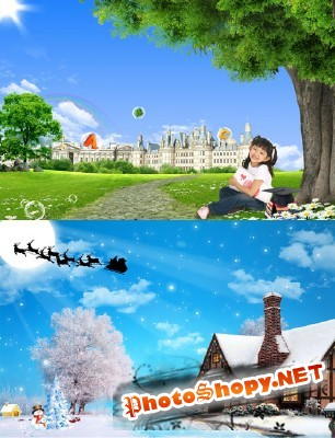 Winter and summer beauty in nature psd for Photoshop