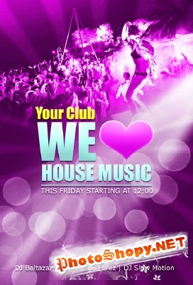 House Music Party Flyer for Photoshop