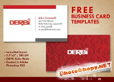 Red Business Card Psd for Photoshop