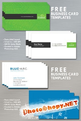 Blue and Simple Business Cards Psd for Photoshop